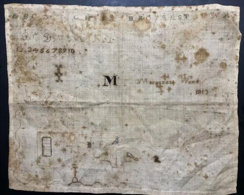 Unfinished Antique Linen Alphabet ABC Sampler Margaret Wood 1813 Free Shipping