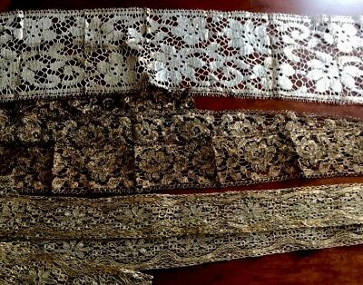 Antique Lot Unused 1920s French Metallic Gold / Silver Lace Trim