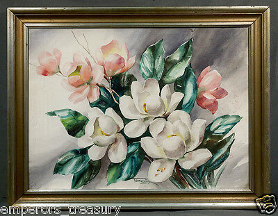 - 20th Century Large Flower Study signed Watercolor w/ Brilliant Color and Detail