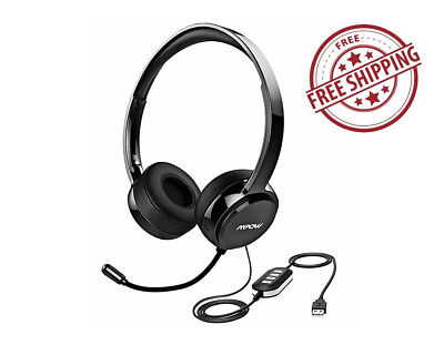 Headset Usb 3 5Mm Pc Mic Noise Cancelling Mpow Skype Webinar Phone Call Center