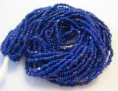13/0 HANK CHARLOTTE CUT DARK BLUE AURORA BOREALIS OPAQUE CZECH GLASS SEED BEADS Dark Blue Czech Seed