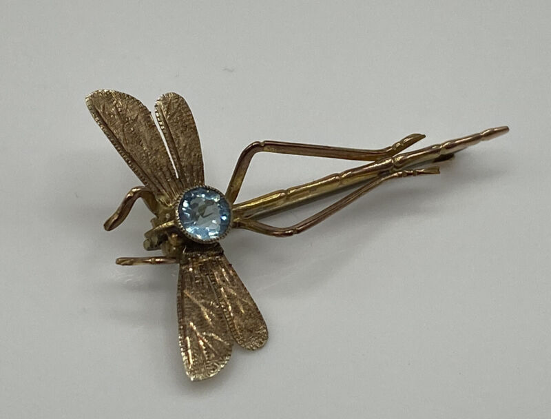 Superb Art Deco Hallmarked Solid 9ct Yellow Gold Blue Topaz Dragonfly Brooch