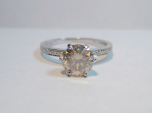 New 1.25 CT 10K Champagne Moissanite with Diamond Accents