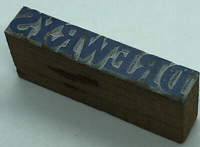 Vintage Wood Drewrys Beer Letterpress Print Type Cut Ornament Block