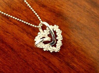 925 Sterlingsilber Glänzend Herz Hawaiischer Frangipani Lei Anhänger Halskette #