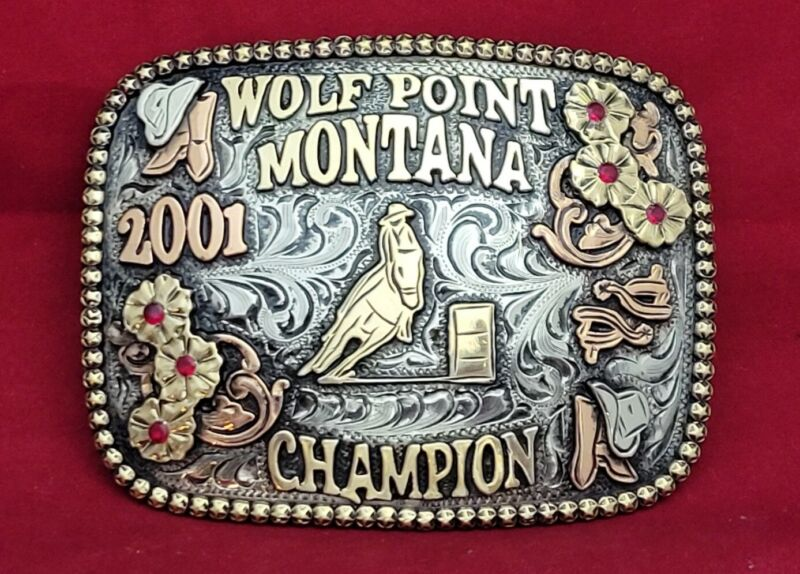 WOLFPOINT MONTANA BARREL RACING CHAMPION RODEO TROPHY BUCKLE ☆2001☆VINTAGE 137