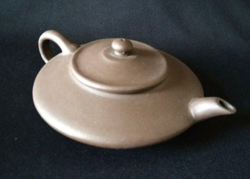 Chinese Yixing Zisha Teapot Handmade Squat Round Shaped Brown Clay from China