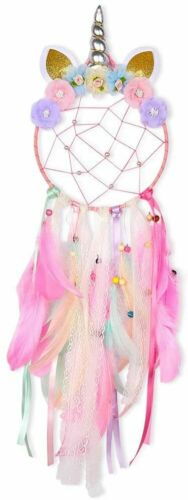 Pink Dream Catcher Purple Flower Feather Pendant Wall Hanging for Car Home horn