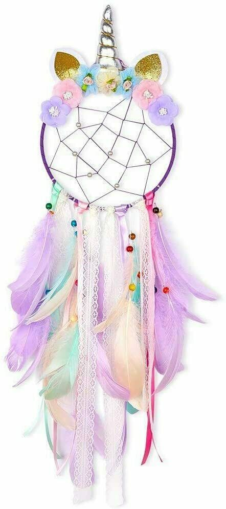 Purple Dream Catcher Flower Feather Pendant Wall Hanging for Car Home horn pink Collectibles