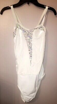 White Swan Dance Recital Costume Size XLC Extra Large Child White and Sequence