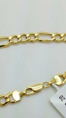 10K Solid Yellow Gold Figaro Chain Link Pendant Necklace 16