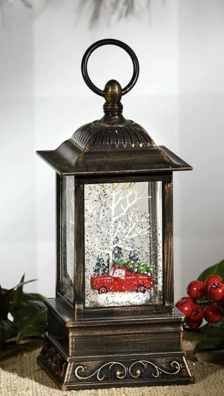 Light & Motion Red Pickup Truck Tree Christmas Snow Globe Lantern Table Decor