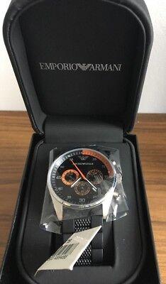 ARMANI MENS CHRONOGRAPH WATCH AR5878 BLACK DIAL RUBBER STRAP