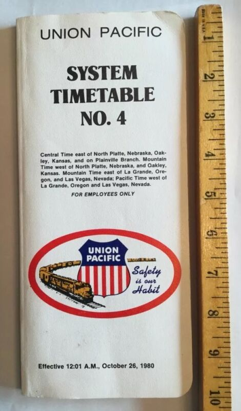 Union Pacific Railroad System Timetable No. 4 October 26, 1980. RR Employee Only