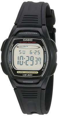 Casio Women's Digital 10-Year Battery Dual Time Black Resin Watch LW201-1AV Casio Ladies 10 Year Battery