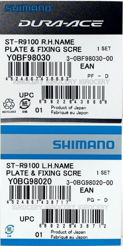 Shimano Dura-Ace ST-R9100 Left//Right Pair Name Plate /& Fixing Screw NIB