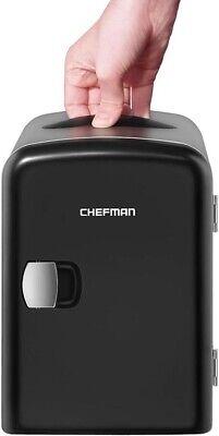 Chefman Mini Portable Black Personal Fridge Cools Or Heats Holds...