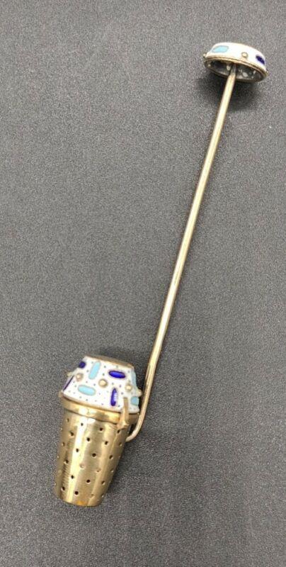 STUNNING Vtg. Russian Sterling Silver 916 Enamel Tea Strainer ~RARE!