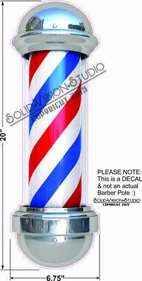 Barber Shop Pole Decal Sign Store Window Decor Weatherproof Vinyl Sticker 20
