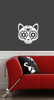 FLAT - Sugar Skull Cat - Dia de los Muertos - Vinyl Wall Decal ©YYDC (9