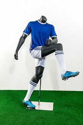 Headless Male Fiberglass Soccer Mannequin - Athletic Body In Shooting Pose