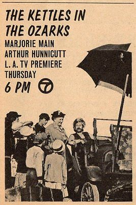 1965 TV MOVIE AD~MA AND PA KETTLE IN THE OZARKS~MARJORIE MAIN & ARTHUR HUNNICUTT
