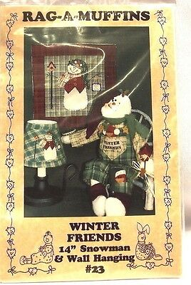 Rag a Muffins Sewing Pattern Winter Friends Snowman and Wall Hanging Kit
