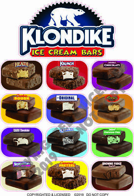 Klondike Ice Cream Bars Concession Trailer Food Truck Weatherproof Vinyl Decal