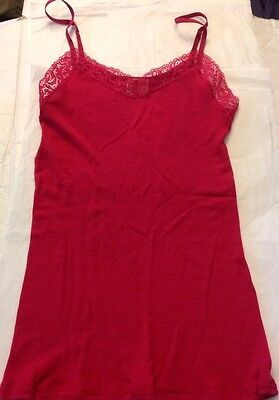 Hanro Woolen Silk - HANRO Fuchsia Woolen Wool Silk Lace Sz XS Tank Top Cami 9483 Brand New NWT