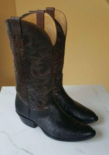 Nocona, Mens, Size, 9.5, 2E, Lizard, Skin, Cowboy, Boots, Brown, Black, Extra, Wide, USA