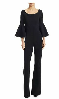 NWT Chiara Boni La Petite Robe Nancy Black Bell-Sleeve Jumpsuit 14 $695