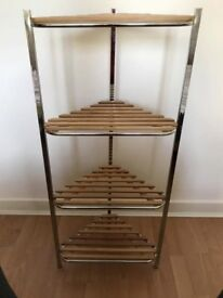 Next bamboo and chrome towel stand