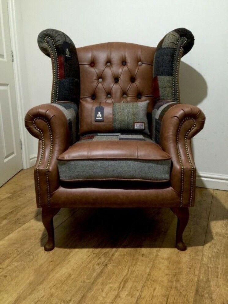 Harris Tweed Amp Brown Leather Chesterfield Wingback
