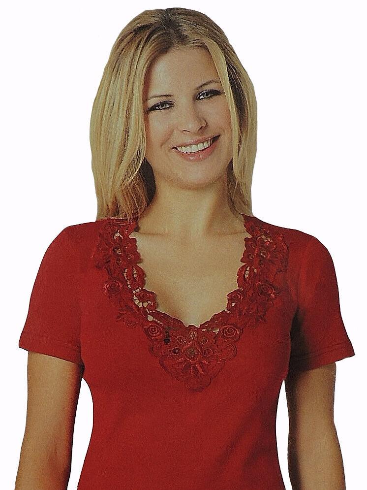 WOW!!! Damen Kurzarm Unterhemd Shirt Oberteil Feinripp mit Spitze 100% Baumwolle