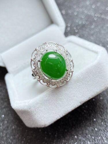 Green Jade Ring Natural Xinjiang Hetian Jasper Ring+Fine Box+certificate 10*12mm