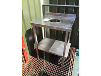 stainless steel catering bin table in good condition with hight adjustable legs