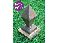 Pack of 10 High quality, ornate & stylish ready-made diamond wooden post caps / finials