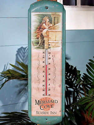 Mermaid Cove Seaside Inn LARGE Thermometer Vintage Style Nautical Beach (Beach Thermometer)
