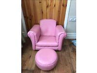 New Pink leather look chair with matching footstool