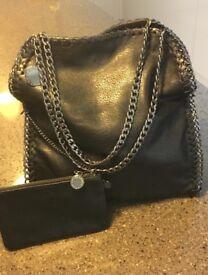 Designer Stella style real leather handbag bag chain purse