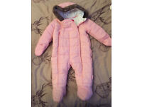 Pink baby Puffa snow suit