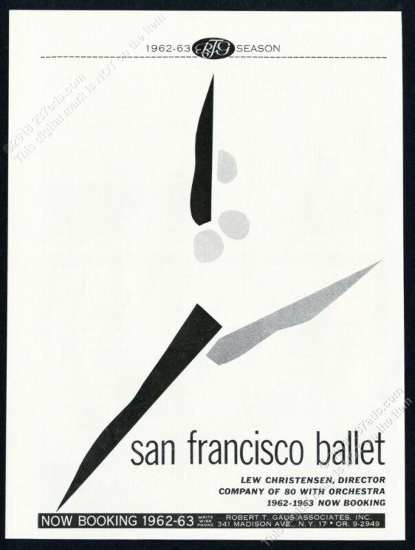 1962 San Francisco Ballet USA tour booking trade print ad