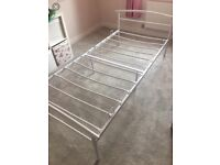 Single white frame metal bed and NEW mattress!