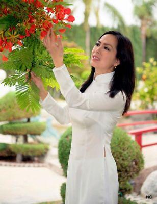 Long White Satin Dress (Vietnam Ao Dai White Satin Dress Pant Tailor)