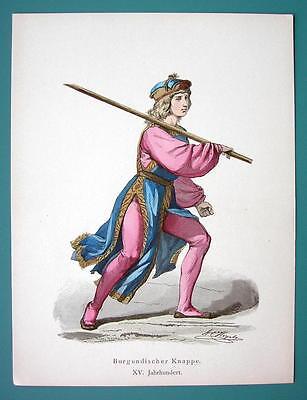 COSTUME Burgundy Boy 15th Century - 1880s Color Antique Print
