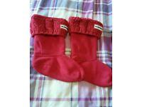 Kids red hunter wellie socks size 10 - 12