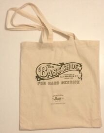 From London Fashion Week coth/tote bag with word/logo on one side, The Bass Shoe Maine, USA