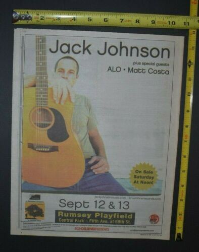 Jack Johnson 2005 Color Concert Ad Central Park NYC ALO Matt Costa