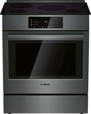 """Bosch 800 Series HII8046U 30"""" Black Stainless Induction Slide-In Range Perfect"""