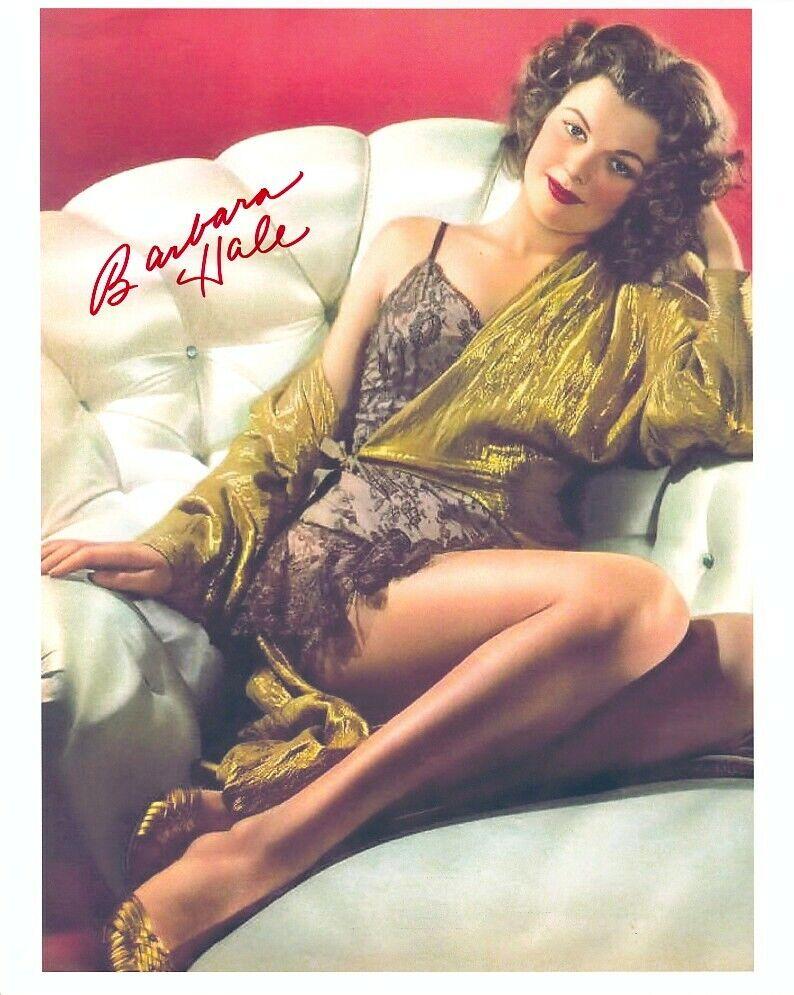 BARBARA HALE Signed BEAUTIFUL YOUNG 8x10 GLAMOUR PORTRAIT W/ Coa LEGGY POSE - $32.99